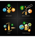 beer set flat icons vector image vector image