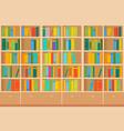 bookshelves full of books both in the library vector image vector image