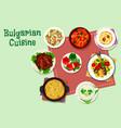 Bulgarian cuisine dinner menu icon for food design