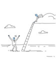 businessman on cloud hold ladder stairs to climb vector image