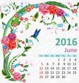 Calendar for 2016 June vector image vector image