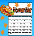calendar for November with Thanksgiving vector image vector image