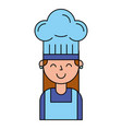chef girl portrait with hat vector image vector image