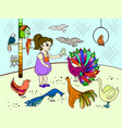 childrens cartoon color the contact birds zoo vector image vector image
