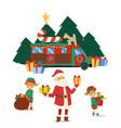 christmas camper van with presents santa vector image