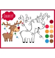 Coloring book page with cartoon christmas deer and vector image vector image