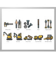 construction tool elements linecolor pack vector image
