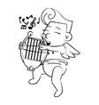 cupid with harp cartoon sketch vector image
