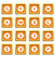 currency from different countries icons set orange vector image vector image