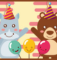Cute animal happy birthday