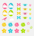 easter elements set of spring flowers eggs vector image