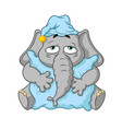 elephant wants to sleep hugging a pillow vector image