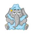elephant wants to sleep hugging a pillow vector image vector image