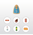 flat icon meal set of canned chicken spaghetti vector image vector image