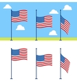 Flat USA flags set vector image