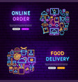 food delivery neon banners vector image vector image