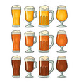four different glasses with three types beer vector image vector image