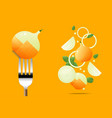 fresh onion on fork with flying onions background vector image