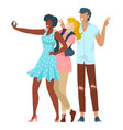 friends together young people taking selfie in vector image vector image