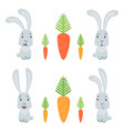 funny cute bunnies and carrots isolated on white vector image vector image