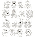 funny toy animals friendly smiling vector image