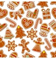 ginger cookie christmas dessert seamless pattern vector image vector image