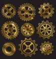 golden retro sketch mechanical gears set vector image vector image