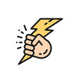hand with lightning power flat color line vector image