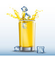 ice cubes splash in glass of orange juice vector image vector image
