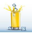 ice cubes splash in glass of orange juice vector image