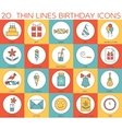 Line icons set of happy birthday collection vector image vector image