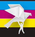 man with origami dove color printing concept vector image vector image