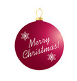 merry christmas on red ornament vector image vector image