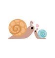 mother snail and its baby cute gastropods family vector image vector image