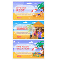 motivate for rest and summer recreation banner set vector image vector image