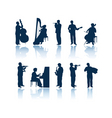 musician silhouettes vector image vector image