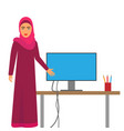 muslim woman at work arab business character at vector image vector image