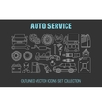 Outline set auto service icons vector image vector image