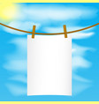 Paper mock up hanging on the rope with wood pins vector image