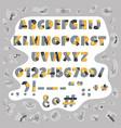 papercut colorful alphabet cute geometric vector image