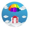 Parachute with a gift box vector image vector image