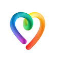 rainbow heart on white background isolated 3d vector image