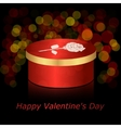 Round box with red and gold rose on a dark vector image vector image