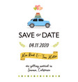 save date lettering card with retro car vector image