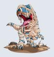 scary mummy dinosaur trex roaring for halloween vector image vector image