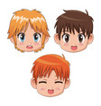 set front view face cute anime tennagers facial vector image vector image