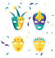 set of masks carnival celebration icon vector image