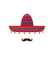 sombrero and mustache icon template isolated vector image vector image