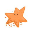 star-shaped orange bacterium or virus in drops of vector image vector image