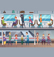 subway people waiting train in urban metro vector image vector image